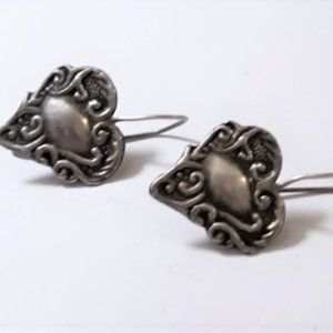 Vtg Sterling 925 Repousse Heart Earrings
